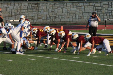 The Indian defense trying to stop Junction City from scoring on Sept. 6 at home.