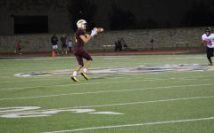 Senior Dalyn Schwarz makes a wide open catch in the game vs. Liberal.