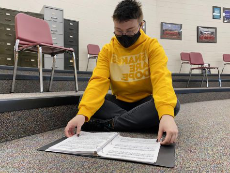 Senior Kai Kaufman studies one of his audition pieces in Pride Time. Every college follows a different set of guidelines for their auditions, with some setting extremely competitive standards that the students must work to meet. Kaufman believes his technique must be impeccable in order to put his best foot forward.